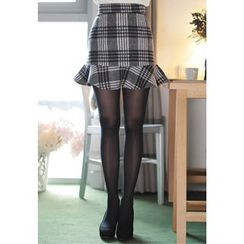 MyFiona - Ruffle-Hem Plaid Wool Blend Mini Skirt