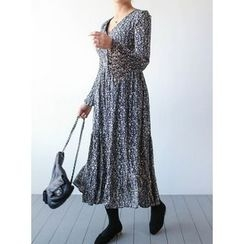 STYLEBYYAM - Floral Patterned Surplice-Wrap Tiered Long Dress
