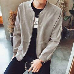 Mitouomo - Contrast Trim Zip Jacket