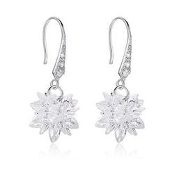 BELEC - 925 Sterling Silver Snowflake with Cubic Zircon Earrings