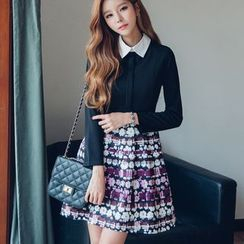 Dowisi - Printed Panel Long Sleeve Collared Dress