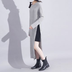 Sonne - Mock Two-Piece Single Side Slit Knit Dress