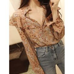 maybe-baby - Frilled Floral Pattern Blouse