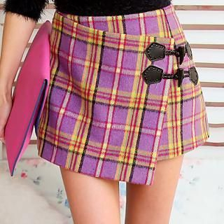 Dabuwawa - Wrapped Toggle Plaid Miniskirt