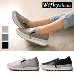 Wifky - Mesh-Trim Textured Slip-Ons