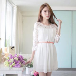 Tokyo Fashion - 3/4 Sleeve Lace-Panel Pleated Dress