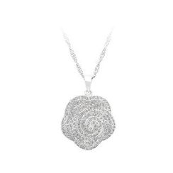BELEC - 925 Sterling Silver Rose Pendant with White Cubic Zircon and Necklace
