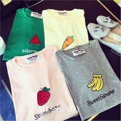 Whitney's Shop - Embroidered Fruit Short-Sleeve T-shirt