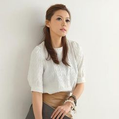 SO Central - Elbow-Sleeve Houndstooth Embossed Top