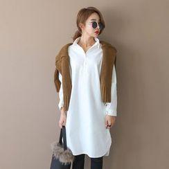 PPGIRL - Half-Placket Cotton Long Shirt