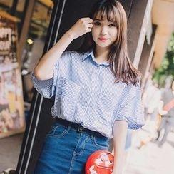 微米家 - 短袖条纹衬衫