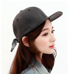 Hats 'n' Tales - Tie-Back Faux Leather Cap