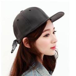 Hats 'n' Tales - Tie-Back Faux Leather Cap