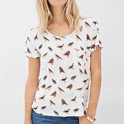 Obel - Bird Print Short-Sleeve T-shirt