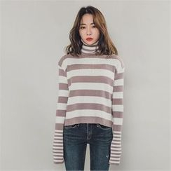 ERANZI - Turtle-Neck Striped Rib-Knit Top
