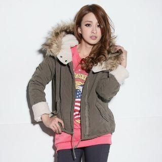 Faux Fur-Trim Fleece-Lined Hooded Coat