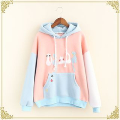 Fairyland - Cat Applique Color Panel Hoodie
