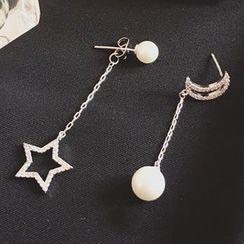 Kulala - Rhinestone Moon & Star Non-Matching Earrings