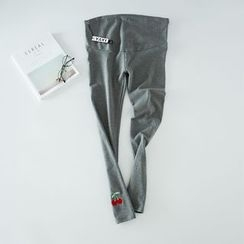 Viana Smile - Maternity Cherry Embroidered Leggings
