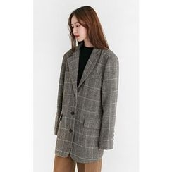 Someday, if - Checked Wool Blend Oversized Jacket