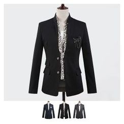 DANGOON - Mandarin-Collar Two-Button Blazer