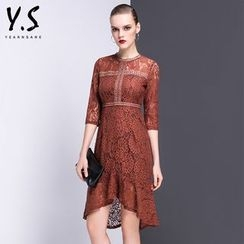 Y:Q - 3/4-Sleeve Asymmetric Lace Dress