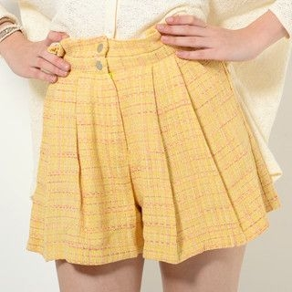 YesStyle Z - High-Waist Tweed Shorts