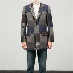 STYLEMAN - Wool-Blend Check-Pattern Single-Breasted Coat
