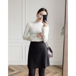 UPTOWNHOLIC - Slit-Side Wool Blend Skirt