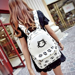 Seok - Cat Print Faux Leather Backpack