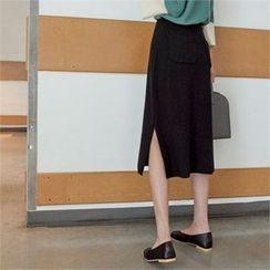 Styleberry - Slit-Hem Midi Skirt