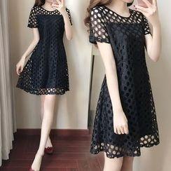 Cherry Dress - Short-Sleeve Mesh A-line Dress