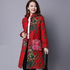 Splashmix - Pocket-Accent Printed Buttoned Coat