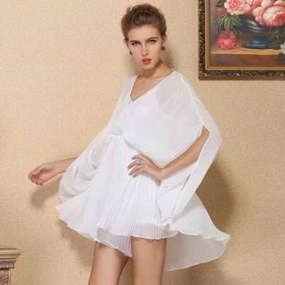 Ando Store - Batwing-Sleeve Pleated Chiffon Dress