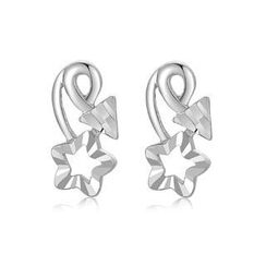 MaBelle - 14K/585 White Gold Diamond Cut Star and Arrow Earrings