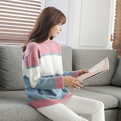 CLICK - Crewneck Color-Block Sweater