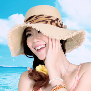 Momiton - Bow-Accent Fridge-Hem Straw Sun Hat