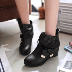 Shoes Galore - Bow Hidden Wedge Short Boots
