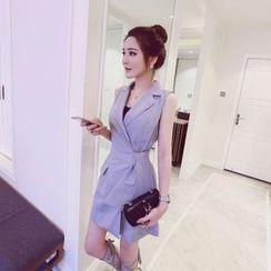 Eva Fashion - Pinstriped Long Sleeveless Vest