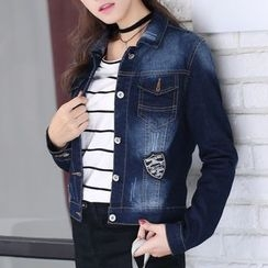 Jeans Kingdom - Applique Washed Denim Jacket