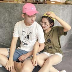 Evolu Fashion - Couple Matching Pug Print Short Sleeve T-Shirt