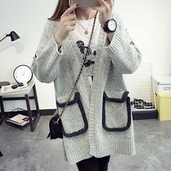 FR - Open Front Chunky Knit Cardigan