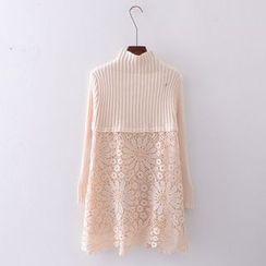Tulander - Lace Panel Knit Dress