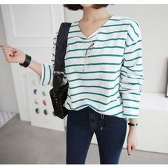 Miamasvin - Drop-Shoulder Striped T-Shirt