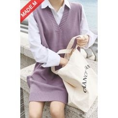 MICHYEORA - V-Neck Sleeveless Knit Dress