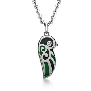 Kenny & co. - Black and Green Enamel Lovebird Necklace (Small)