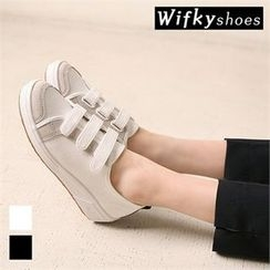 Wifky - Faux-Suede Trim Velcro Sneakers