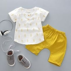POMME - Kids Set: Printed Short Sleeve Henley T-Shirt + Shorts