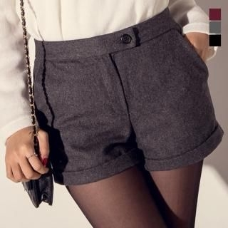 J-ANN - Wool Blend Cuffed Shorts
