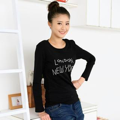 59 Seconds - Lettering Embroidered Long-Sleeve T-Shirt
